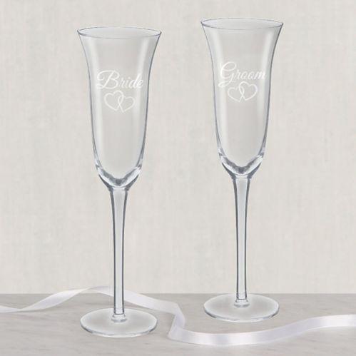 Verres à trinquer de mariage Bride & Groom, paq. 2