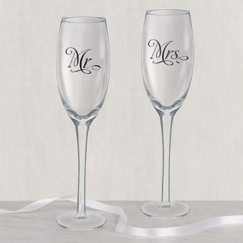 Mr & Mrs Wedding Toasting Glasses, 2-pc