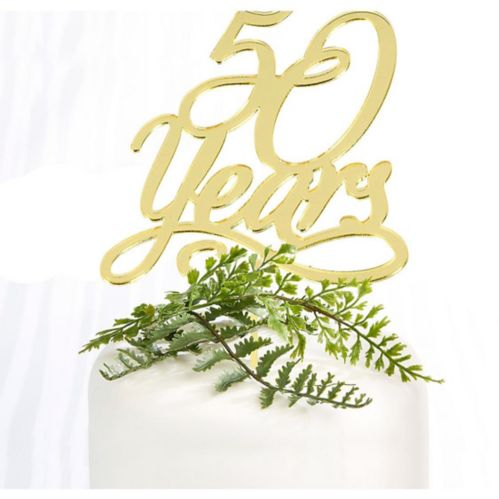 50th Anniversary Cake Topper, Gold
