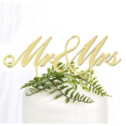 Décoration à gâteau de mariage Mr & Mrs doré, 6 1/2 x 6 1/2 po