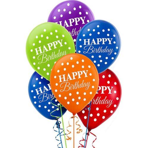Rainbow Dot Birthday Balloons, 15-pk