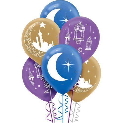 Ballons pour Eid croissant de lune et mosquée, paq. 15