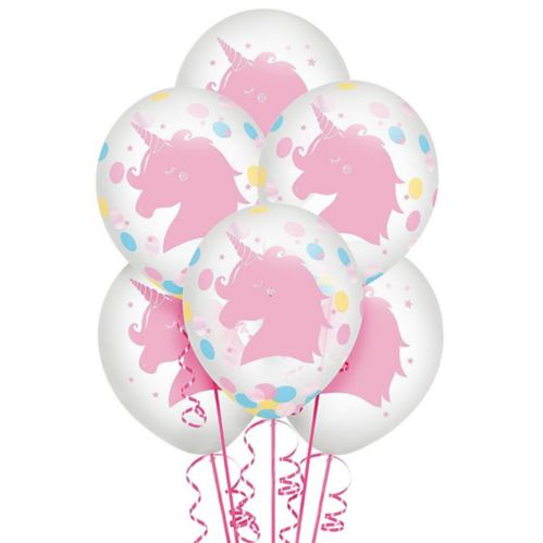 Magical Rainbow Unicorn Confetti Balloons, 6-pk