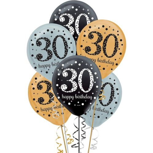 Sparkling Celebration 30th Birthday Balloons, 15-pk