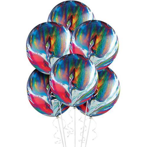 Rainbow Marble Balloons, 72-pk
