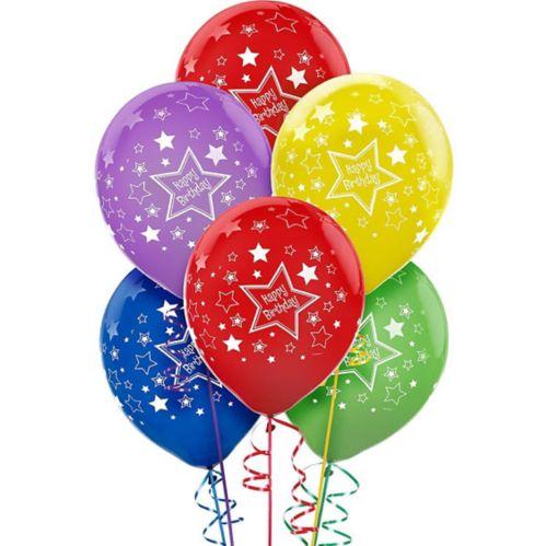 Primary Coloured Star Birthday Balloons, 20-pk