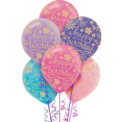 Ballons d'anniversaire à motif floral, paq. 20