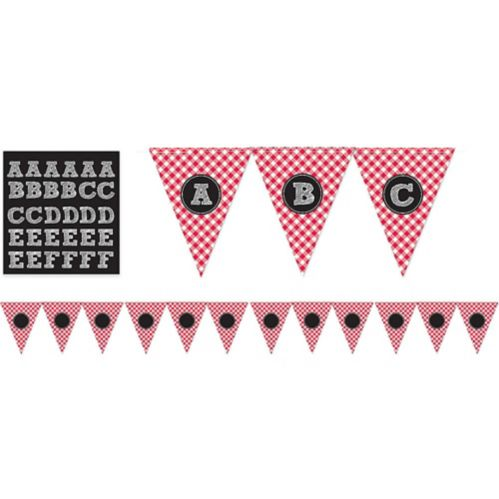Picnic Party Personalized Pennant Banner, Red Gingham