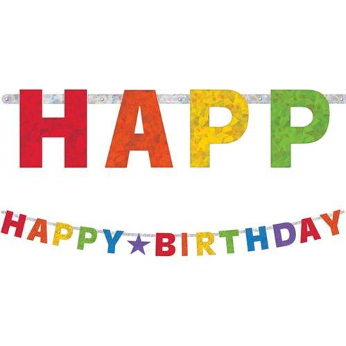 Prismatic Rainbow Happy Birthday Letter Banner