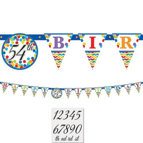 Rainbow Dot  Chevron Birthday Pennant Banner