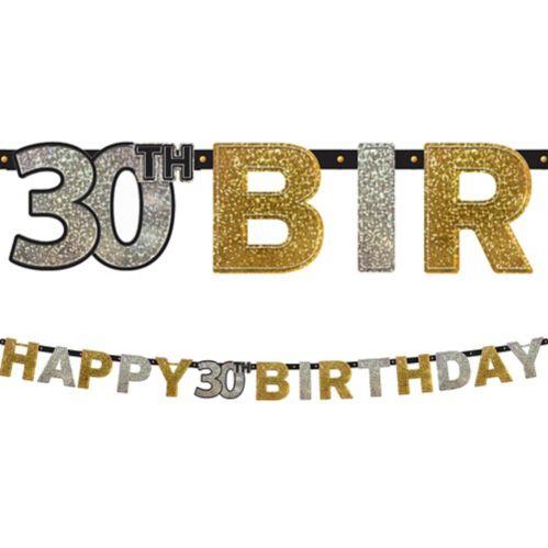 Sparkling Celebration Prismatic 30th Birthday Banner