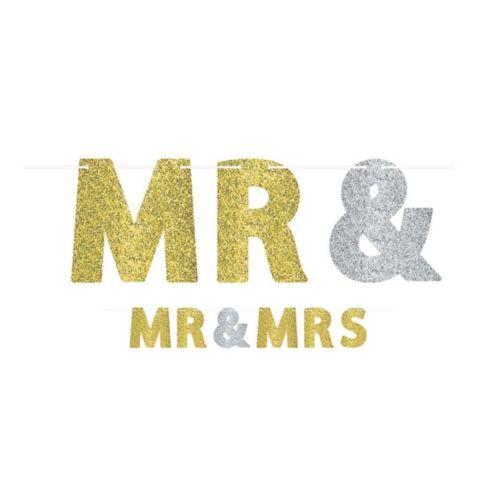 Banderole de lettres scintillantes pour mariage Mr. & Mrs Image de l'article