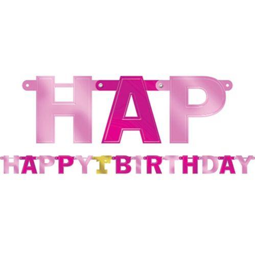 Banderole rose métallique 1er anniversaire Image de l'article