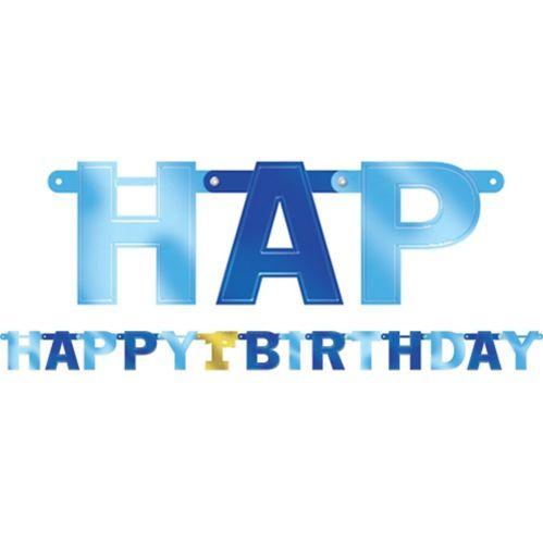 Banderole bleu métallique 1er anniversaire