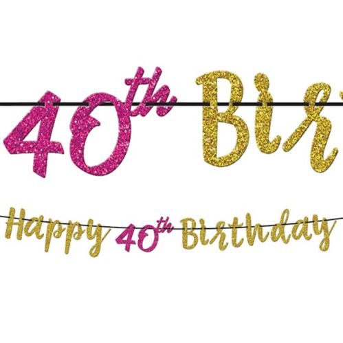 Glitter 40th Birthday Letter Banner