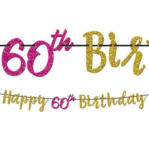 Glitter 60th Birthday Letter Banner
