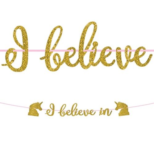 Banderole à lettres licorne magique dorée scintillante