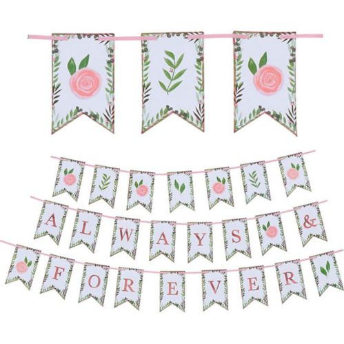 Floral Greenery Always & Forever Pennant Banner