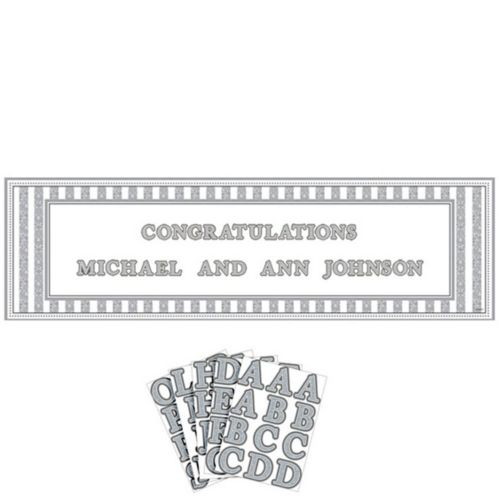 Giant Silver Wedding Personalized Banner Kit
