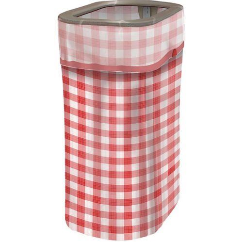 Gingham Pop-Up Trash Bin