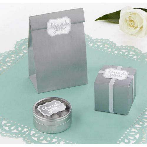 Silver Scroll Thank You Sticker Seals, 50-pk Product image