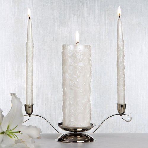White Damask Unity Candle Set, 3-pc