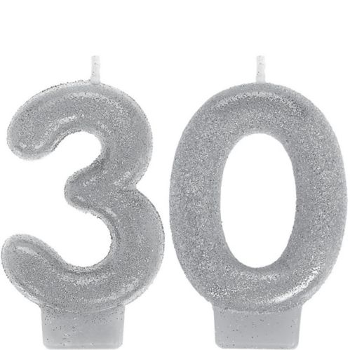 Glitter Silver Number 30 Birthday Candles, 2-pc