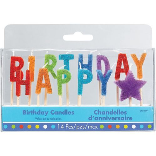 Glitter Multicolour Happy Birthday Toothpick Candle Set, 14-pc