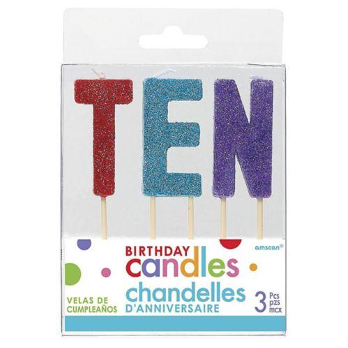 Bougies cure-dents dixième anniversaire, multicolore scintillant, paq. 3