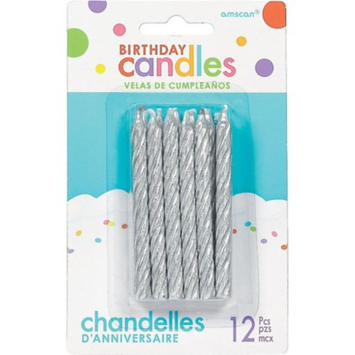 Silver Spiral Birthday Candles, 3.3-in, 12-pk