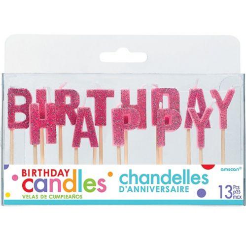 Glitter Pink Happy Birthday Toothpick Candle Set, 13-pk