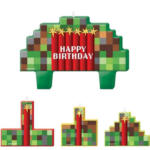Pixelated Birthday Candles Set, 4-pc