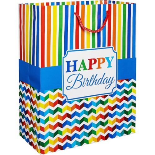 Rainbow Chevron Birthday Gift Bag
