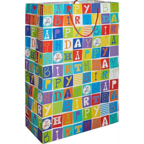 Giant Happy Birthday Squares Gift Bag