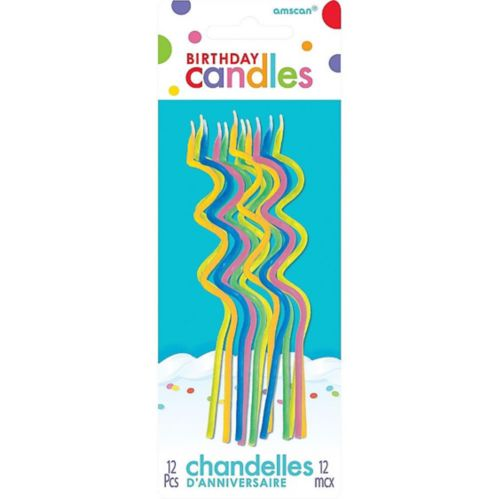 Tall Multicolour Bright Coil Birthday Candles, 12-pk