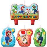Bougies d'anniversaire Super Mario, paq. 4 | Amscannull