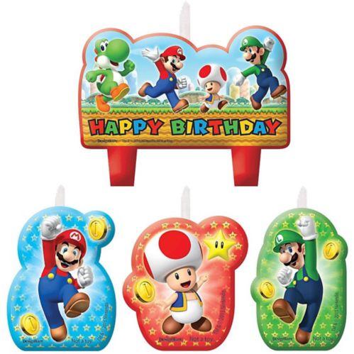 Bougies d'anniversaire Super Mario, paq. 4 Image de l'article
