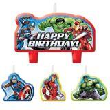 Bougies d'anniversaire Avengers, paq. 4 | Marvelnull