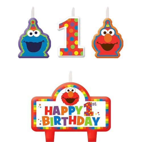 Sesame Street Elmo 1st Birthday Candles, 4-pk Product image