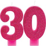 Glitter Number 30 Birthday Candles, 2-pc