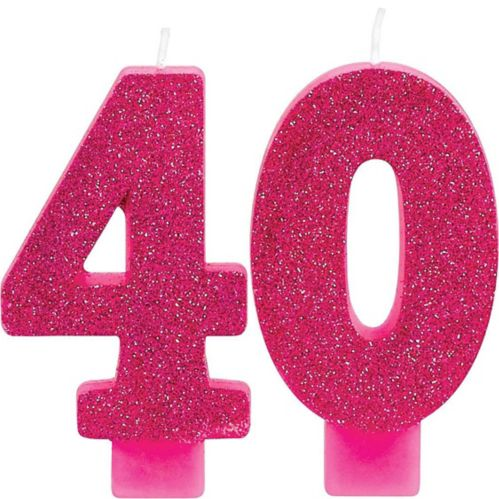 Glitter Number 40 Birthday Candles, 2-pk