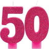 Bougies d'anniversaire à paillettes numéro 50, 2pièces | Amscannull