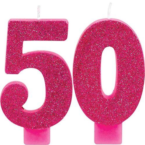 Bougies d'anniversaire à paillettes numéro 50, 2pièces