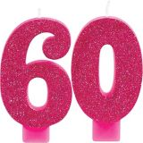Glitter Number 60 Birthday Candles, 2-pk