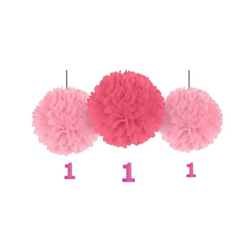 Pink 1st Birthday Tissue Pom Poms with Glitter Cutouts, 3-ct