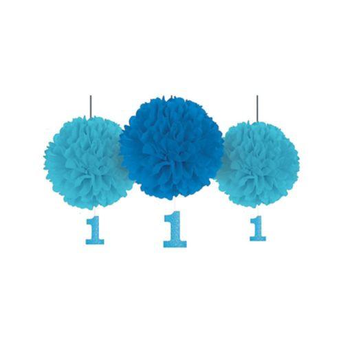 Pompons en papier de soie bleu pour 1er anniversaire avec découpes scintillantes, paq. 3