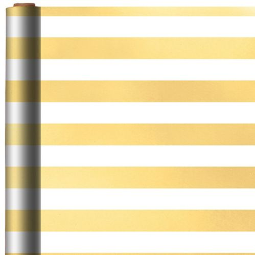 White & Gold Striped Gift Wrap Product image