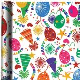 Party Hats & Balloons Birthday Gift Wrap