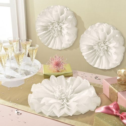 White Flower Tissue Pom Poms, 3-pk