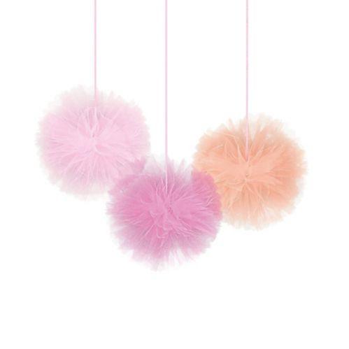Pink Tulle Tissue Pom-Poms, 3-pk